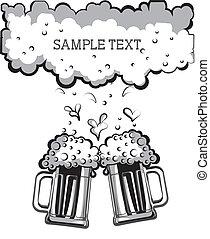 ガラス, シンボル, イラスト, beer., グラフィック, vectorblack