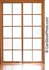 ガラス, スタイル, ドア, 滑っている, 日本