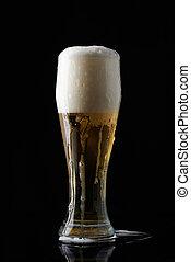 ガラス, ビール, フルである, ぬれた