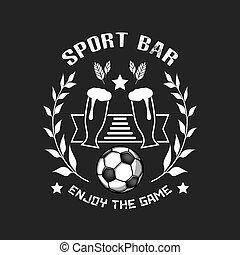 ガラス, ビール, ボール, サッカー, ロゴ