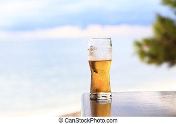 ガラス, ビール, ライト