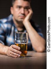 ガラス, ビール, 夜, 飲むこと, アルコール中毒患者