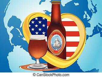 ガラス, ビール, 旗, アメリカ人, 地球, 惑星