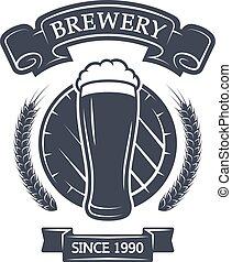 ガラス, ビール, barrel., 背景