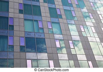 ガラス, ファサド, の, 現代建物