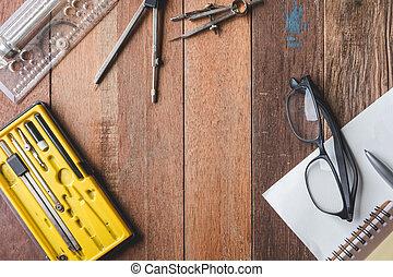 ガラス, ペーパー, テキスト, スペース, 無料で, 木製である, 光景, 道具, ペン, テーブル, バックグラウンド。, 上, 工学
