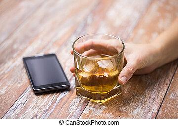 ガラス, マレ, テーブル, アルコール, 手