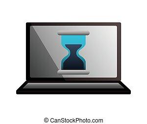 ガラス, ラップトップ, 時間, ビジネス, 時間