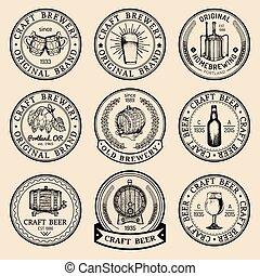ガラス, ロゴ, 古い, ラガービール, サイン, set., エール, labels., 手, ビール, ベクトル, レトロ, びん, sketched, クラフト, ∥など∥., 醸造所, 樽