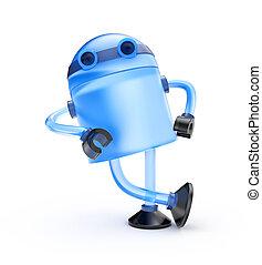 ガラス, ロボット, 上に傾斜する, ∥, 想像, オブジェクト