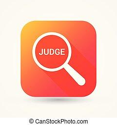 ガラス, 光学, 言葉, 裁判官, 法律, 拡大する, concept: