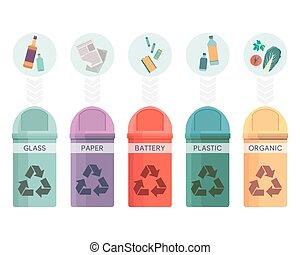 ガラス, 別, セット, 大箱, ごみ, 缶, 電池, 屑, コレクション, プラスチック, ペーパー, ベクトル, 5, イラスト, 有機体である, リサイクルしなさい, 分類される, 無駄, カラフルである, 容器