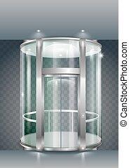 ガラス, 囲まれた, エレベーター