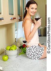 ガラス, 女の子, ワイン