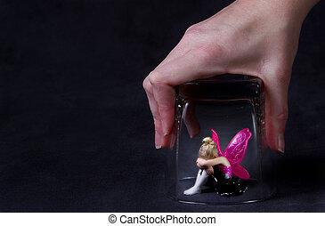 ガラス, 妖精, 捕えられた, 下に