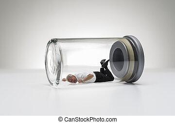 ガラス, 年長 人, ジャー, 捕えられた