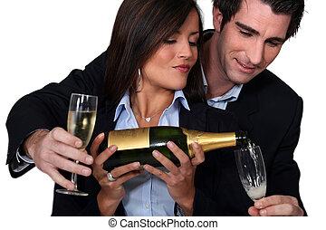 ガラス, 恋人, ワイン, 祝う