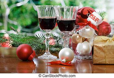 ガラス, 木, ワイン, クリスマス, 赤, 前部