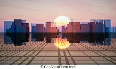 ガラス, 未来, 地平線, 都市