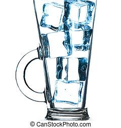 ガラス, 氷, white., cubes., 隔離された