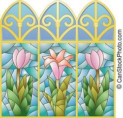 ガラス, 汚された, 花, 窓