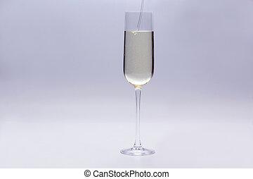 ガラス, 注がれた, シャンペン