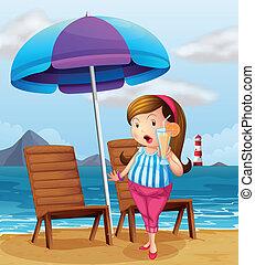 ガラス, 浜, 脂肪, ジュース, 保有物, 女性
