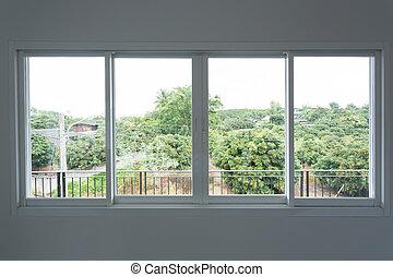 ガラス, 滑っている, 窓