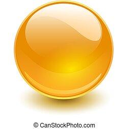 ガラス, 球, オレンジ