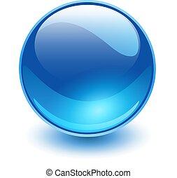 ガラス, 球, 青