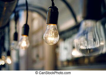 ガラス, 白熱, 夕方, 燃焼, 電球