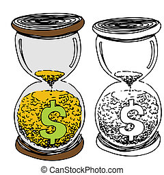 ガラス, 砂, 時間, お金