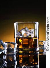 ガラス, 立方体, ウイスキー, 氷