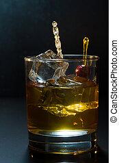 ガラス, 立方体, 氷, ウイスキー
