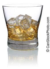 ガラス, 立方体, 隔離された, 氷, ウイスキー