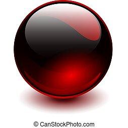 ガラス, 赤, 球