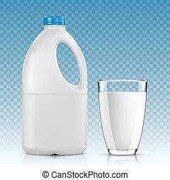 ガラス, 透明, ミルク, 背景, びん