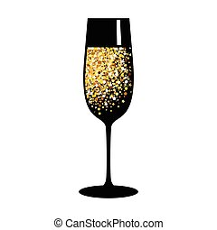 ガラス, 金, シャンペン, 黒