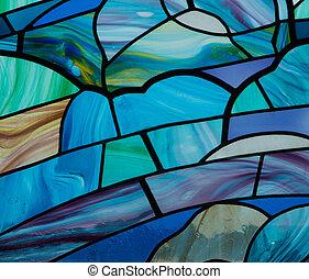 ガラス, 青, しみ