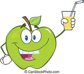 ガラス, 飲みなさい, アップル, 保有物