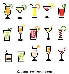 ガラス, 飲み物, カクテル, ベクトル, ic