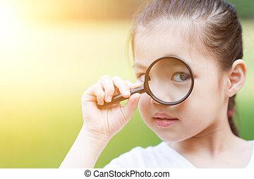 ガラス, outdoors., magnifier, アジア 子供