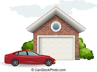 ガレージ, れんが, 自動車