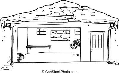 ガレージ, アウトライン, 屋根, 雪