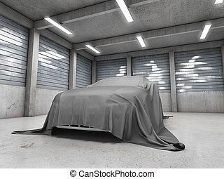 ガレージ, 古い, 汚い, 自動車