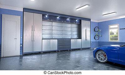 ガレージ, 現代, interior., イラスト, 3d