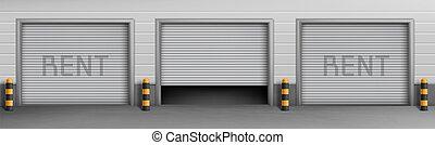 ガレージ, 箱, ベクトル, 賃貸料, 背景