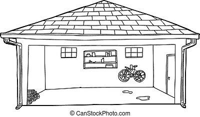 ガレージ, 開いた, アウトライン, 漫画