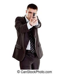 ガンマン, 準備ができた, 撃つため