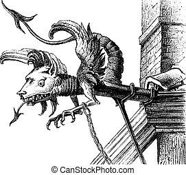ガーゴイル, 16番目, neuchatel, 型, 世紀, (switzerland), engraving.